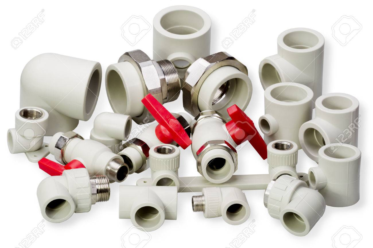 Plumbing Fixtures And Piping Parts Plastic Fittings Stock Photo
