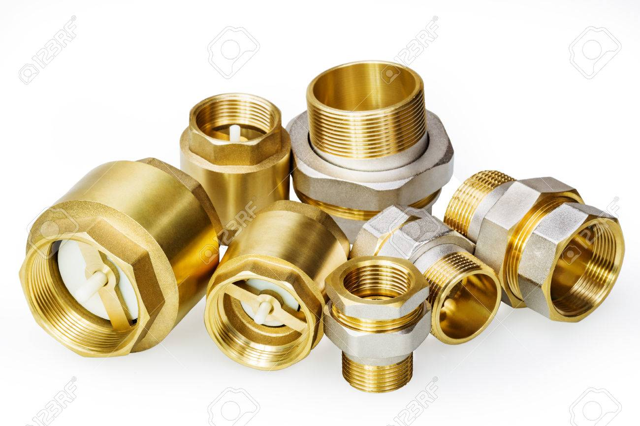 Plumbing fixtures and piping parts on white - 25318726