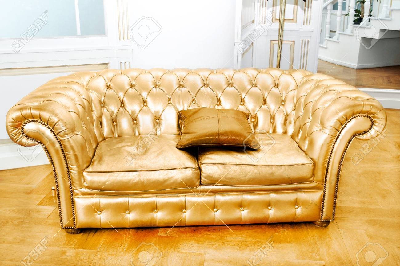Beautiful Vintage Gold Sofa Next To Wall Retro Style Illustration