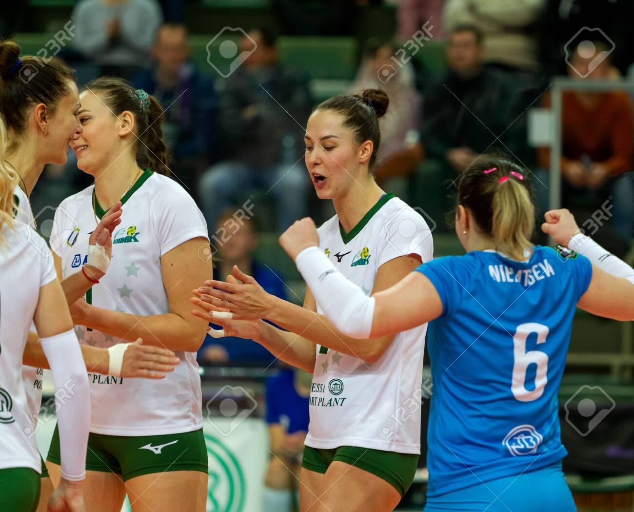 ODESSA, Yuzhny, UKRAINE - Febr 4, 2020. Women European Volleyball Championship. VK Khimik - Ukraine accepts Igor Gorgonzola NOVARA, Italy (red-blue). CEV Cup Challendge round European Women Volleyball - 139868905