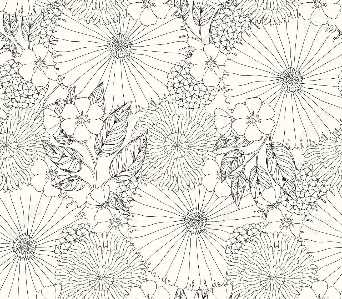 beautiful seamless pattern with flowers Stock Vector - 35984489
