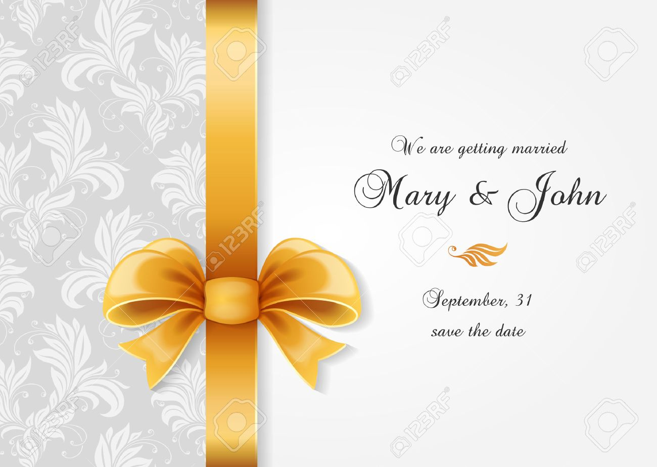 wedding invitation greetings card with ornate bow and elegance