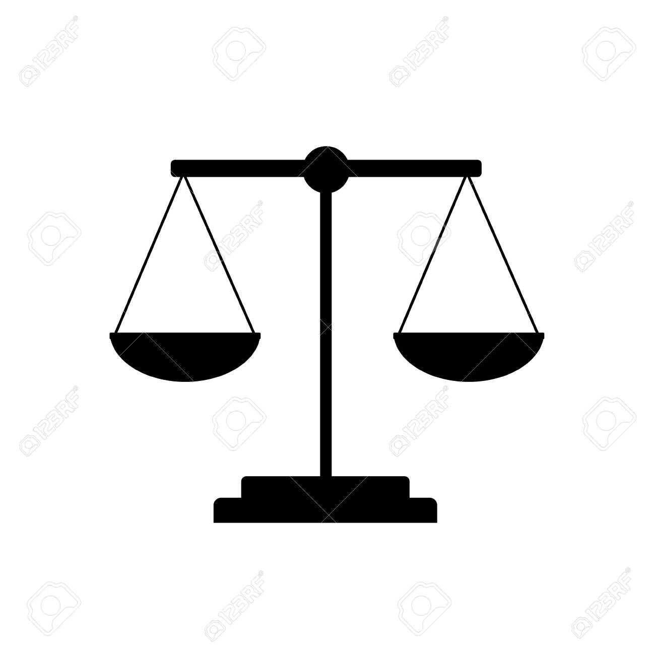 Scales, weighing tool, flat color vector illustration in black on white background, icon, design, decoration - 151999439