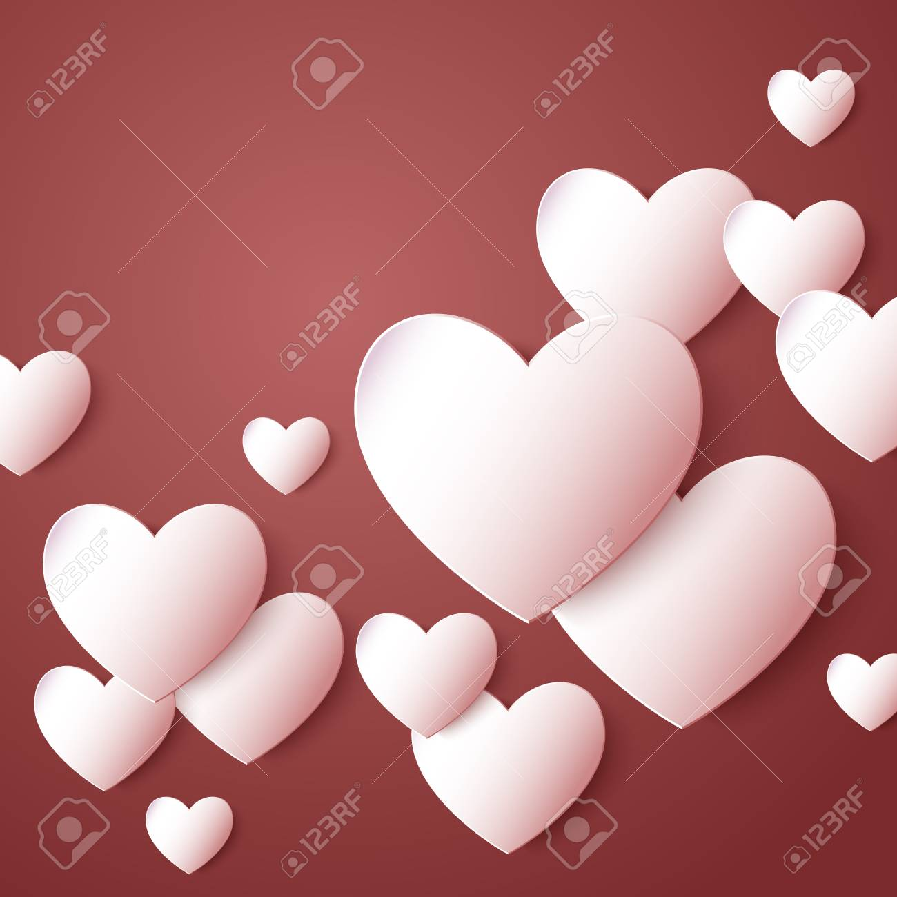 Abstract paper hearts. Love. Vector illustration Stock Vector - 52233407