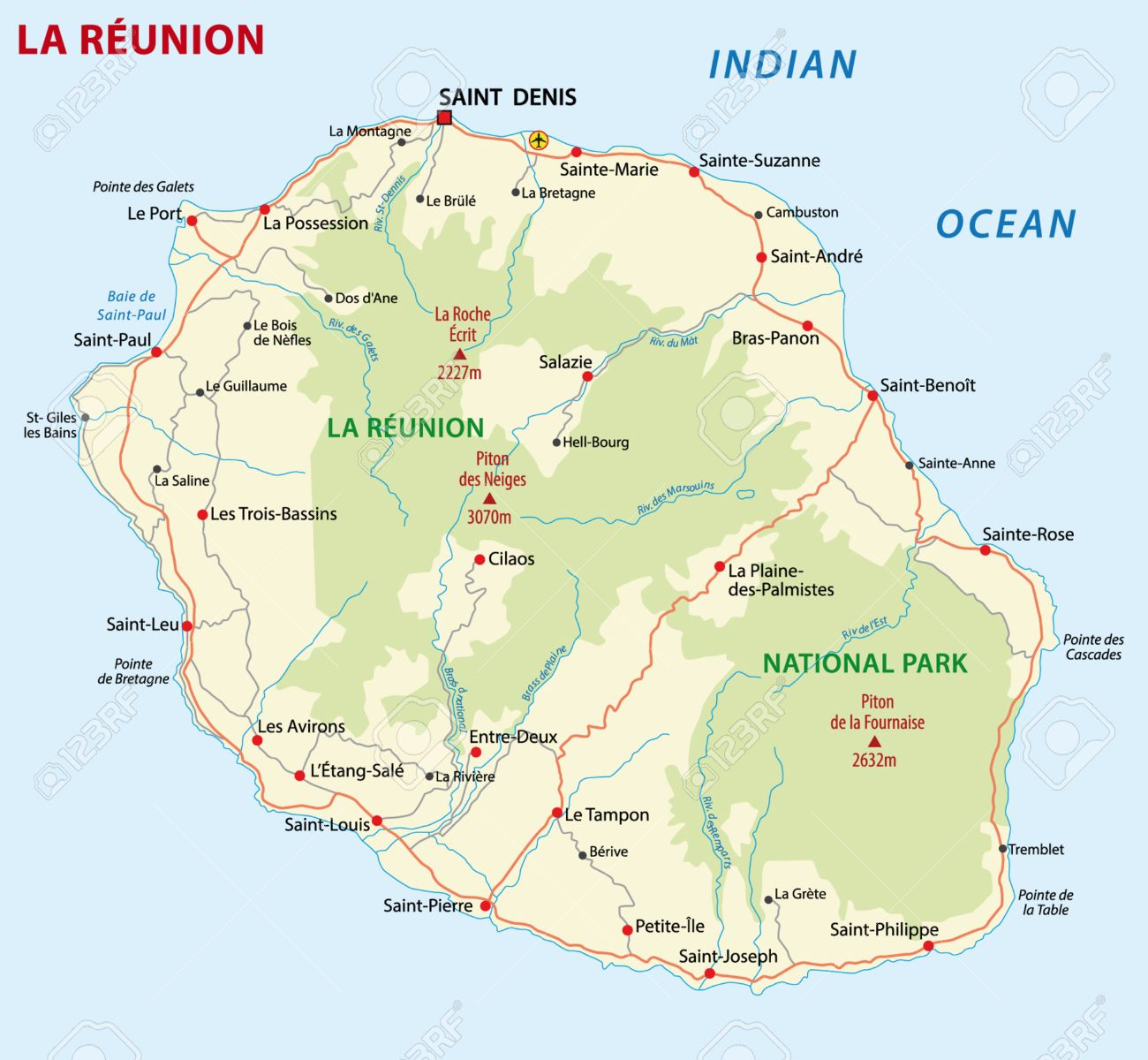 la reunion road map stock vector 23935781