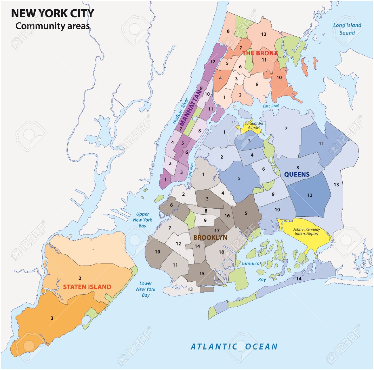 New York City, boroughs, community areas, neighborhoods, map