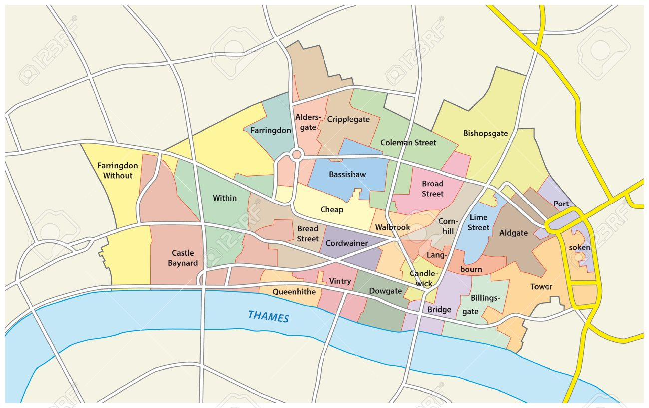 London City Area Map.City Of London Administrative Map