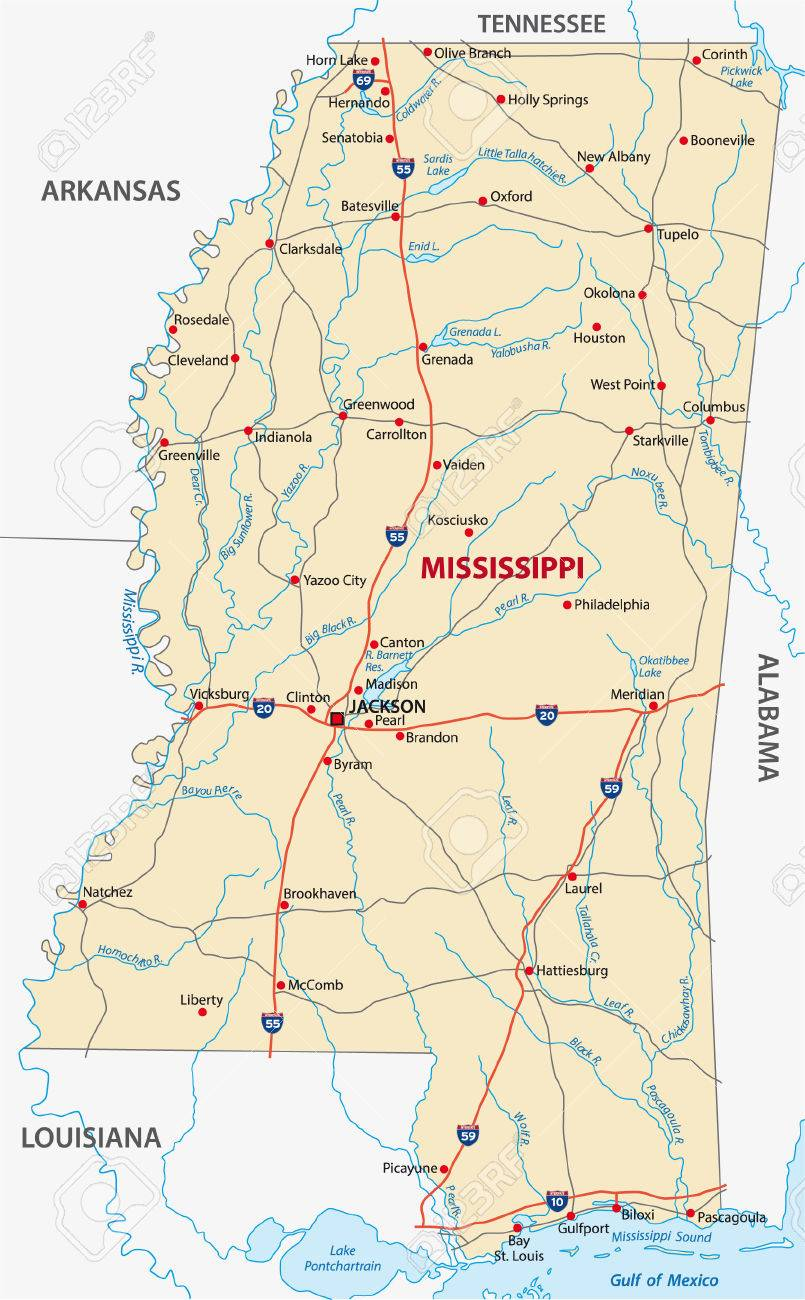 Mississippi Road Map Royalty Free Cliparts Vectors And Stock - Mississippi highway map