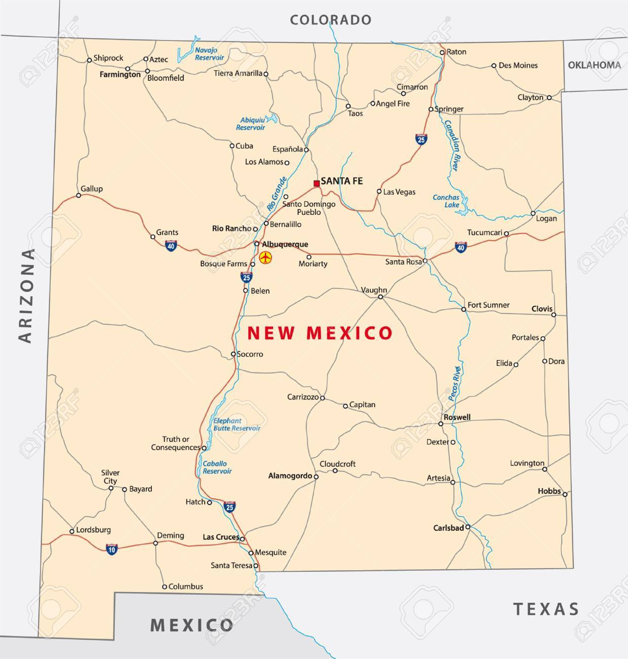 New Mexico Road Map Royalty Free Cliparts Vectors And Stock