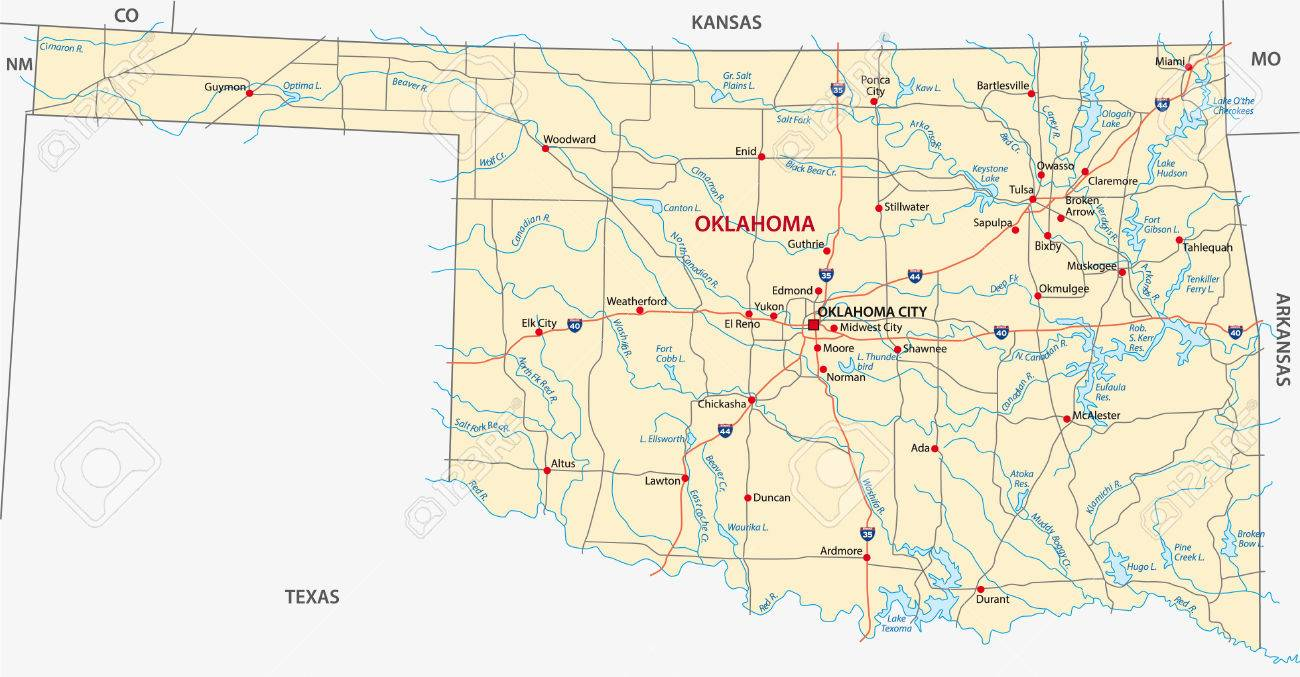 Oklahoma Road Map Royalty Free Cliparts Vectors And Stock