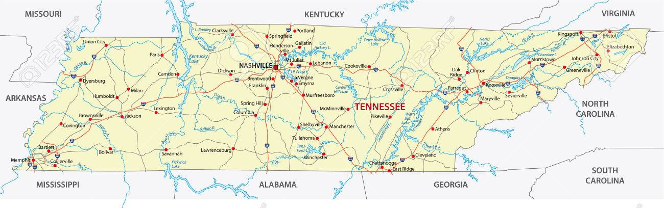 Tennessee Road Map Royalty Free Cliparts Vectors And Stock - Tennessee road map