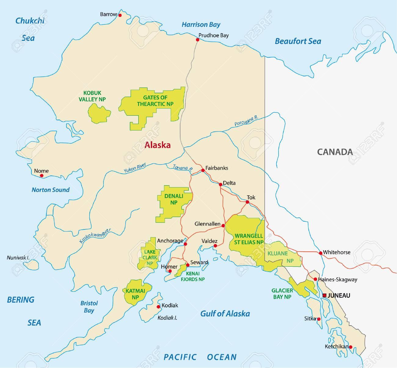 Alaska National Park Map Royalty Free Cliparts Vectors And Stock Illustration Image 32312475
