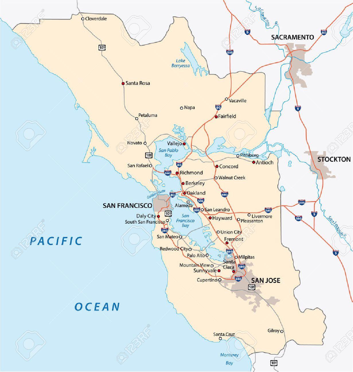 Mapa De San Francisco.San Francisco Mapa Area De La Bahia