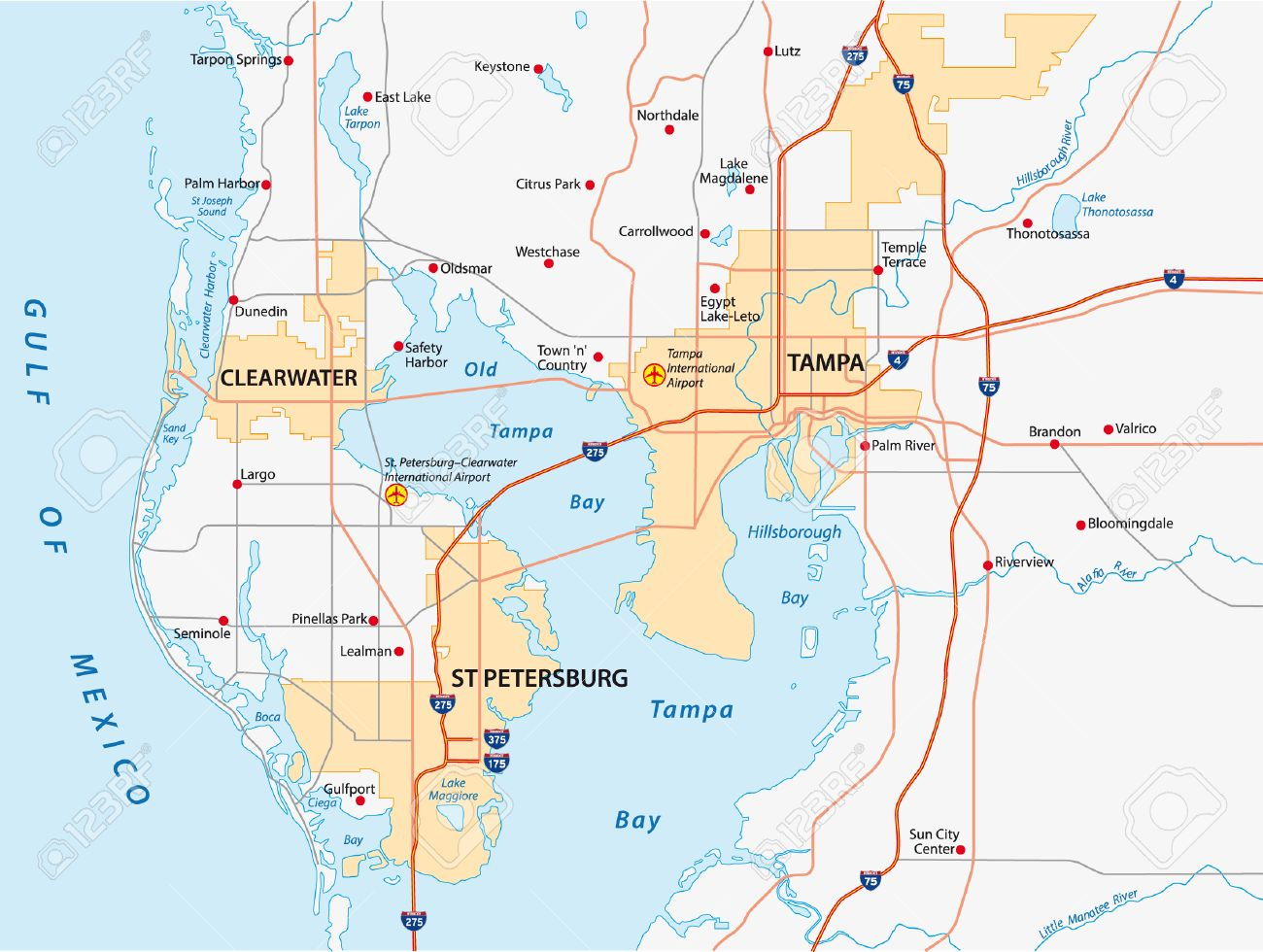 Map Of Tampa Bay Area Tampa Bay Area Map Royalty Free Cliparts, Vectors, And Stock