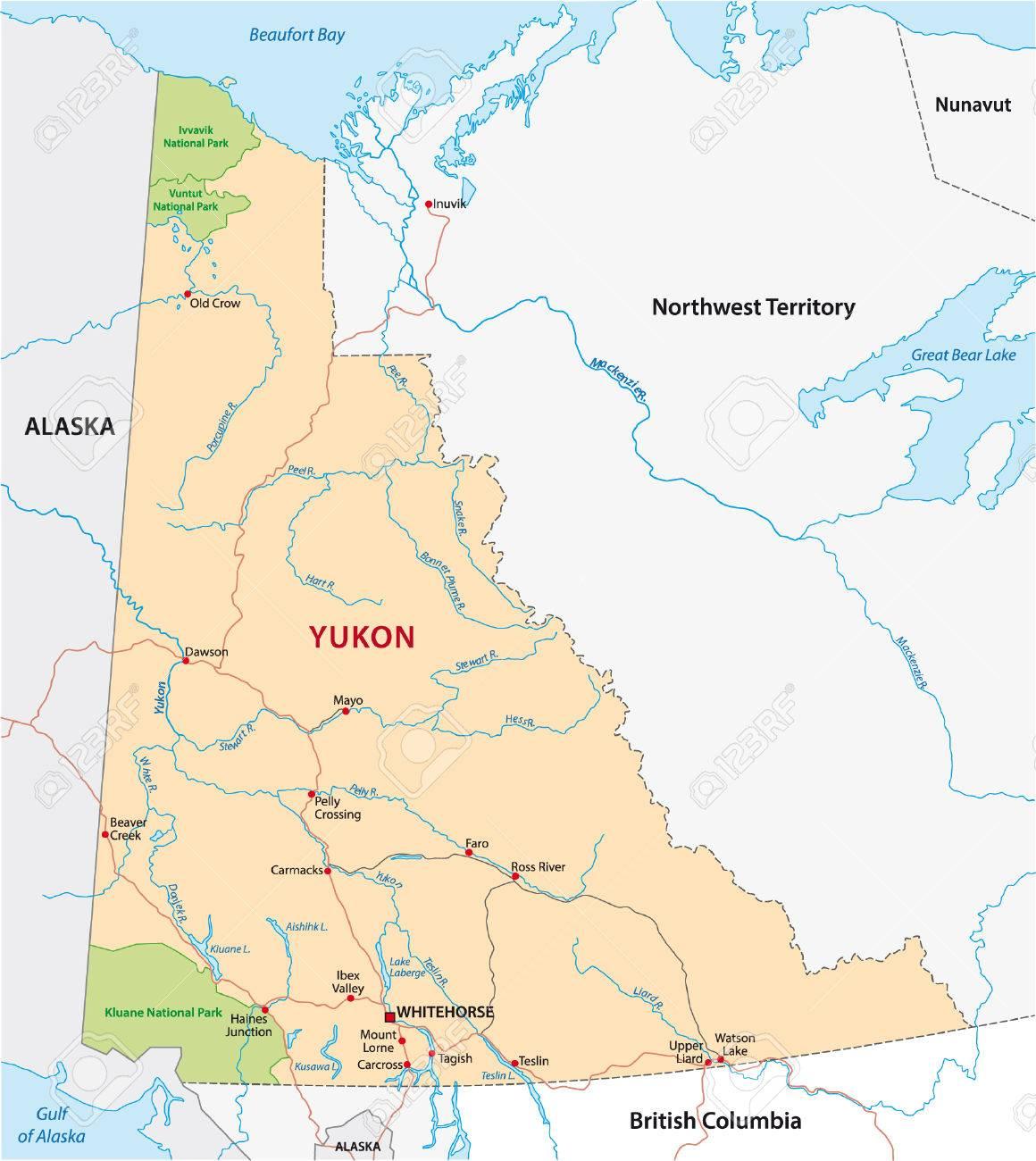 ユーコン準州道路地図のイラスト...