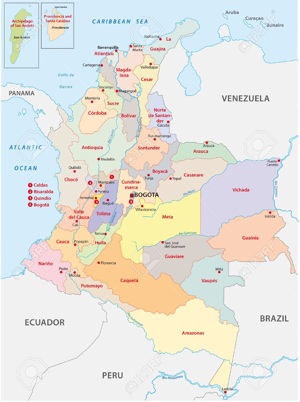 Colombia Administrative Map Royalty Free Cliparts Vectors And