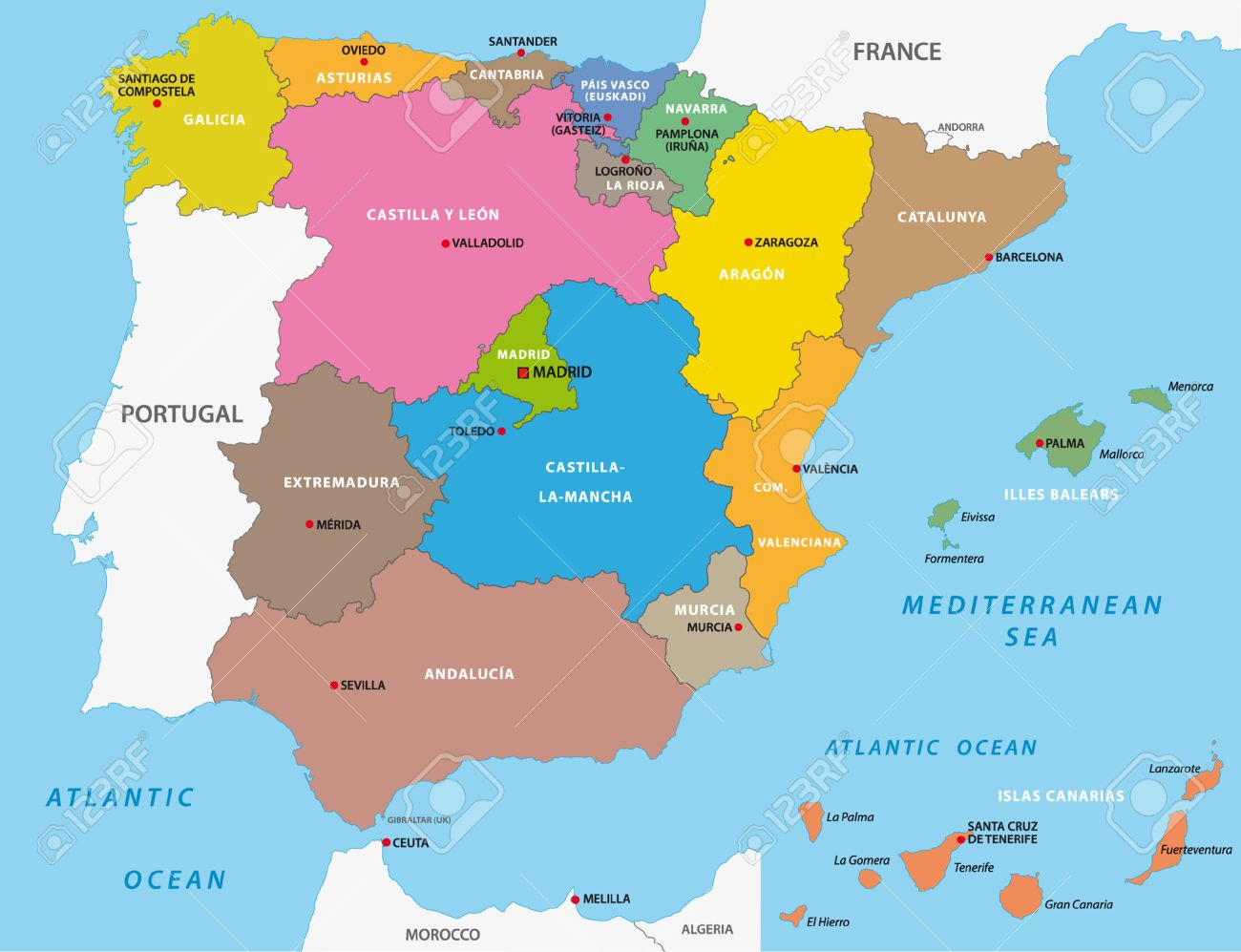 Spain Administrative Map Royalty Free Cliparts Vectors And Stock