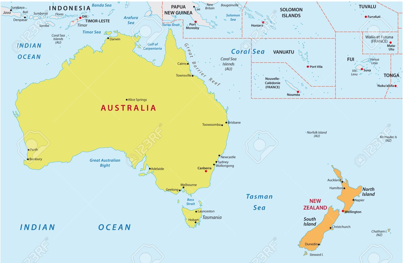 Australia And New Zealand Map Royalty Free Cliparts Vectors And – Auckland Australia Map