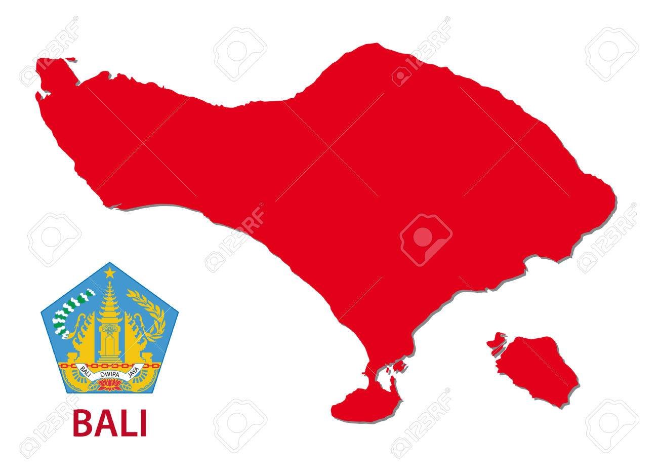 Bali Map With Emblem Royalty Free Cliparts Vectors And Stock