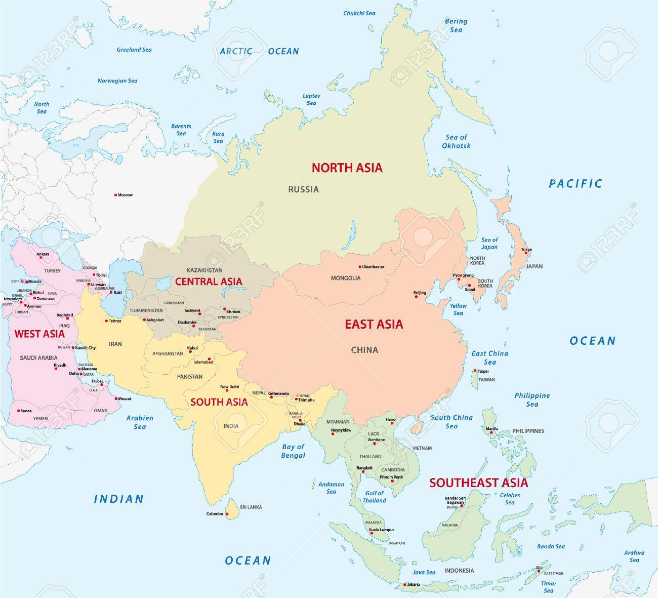 map of the asian sub-regions