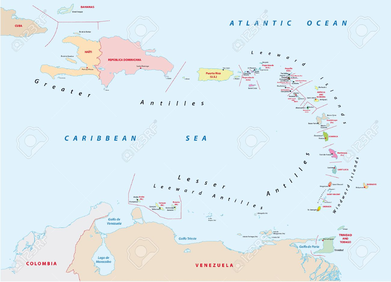 Large And Lesser Antilles Political Map Stock Vector - Image: 39076600