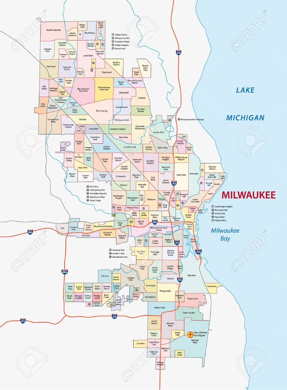 Milwaukee Neighborhood Map Milwaukee Neighborhood Map Royalty Free Cliparts, Vectors, And