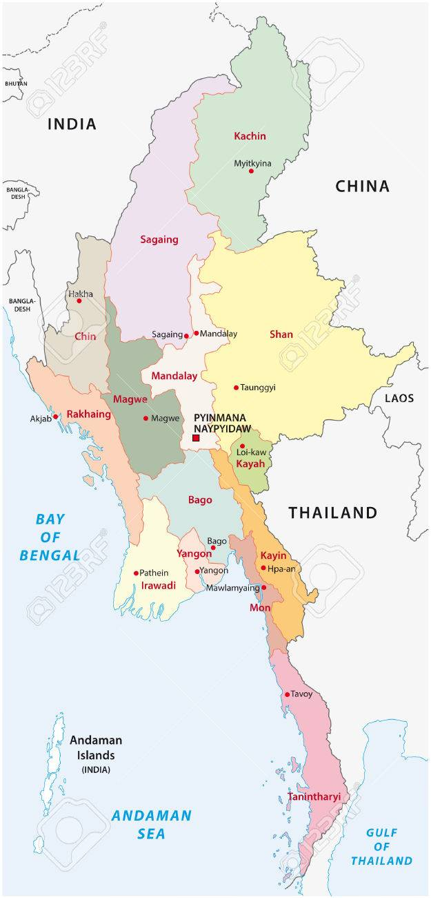 Myanmar Administrative Map Royalty Free Cliparts Vectors And Stock