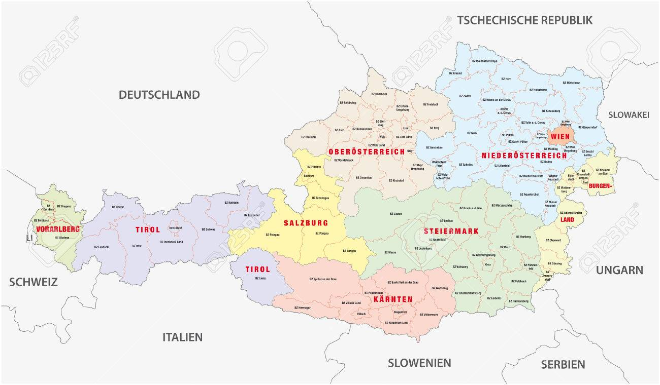 Administrative Map Of Austria Royalty Free Cliparts Vectors And - Map of austria