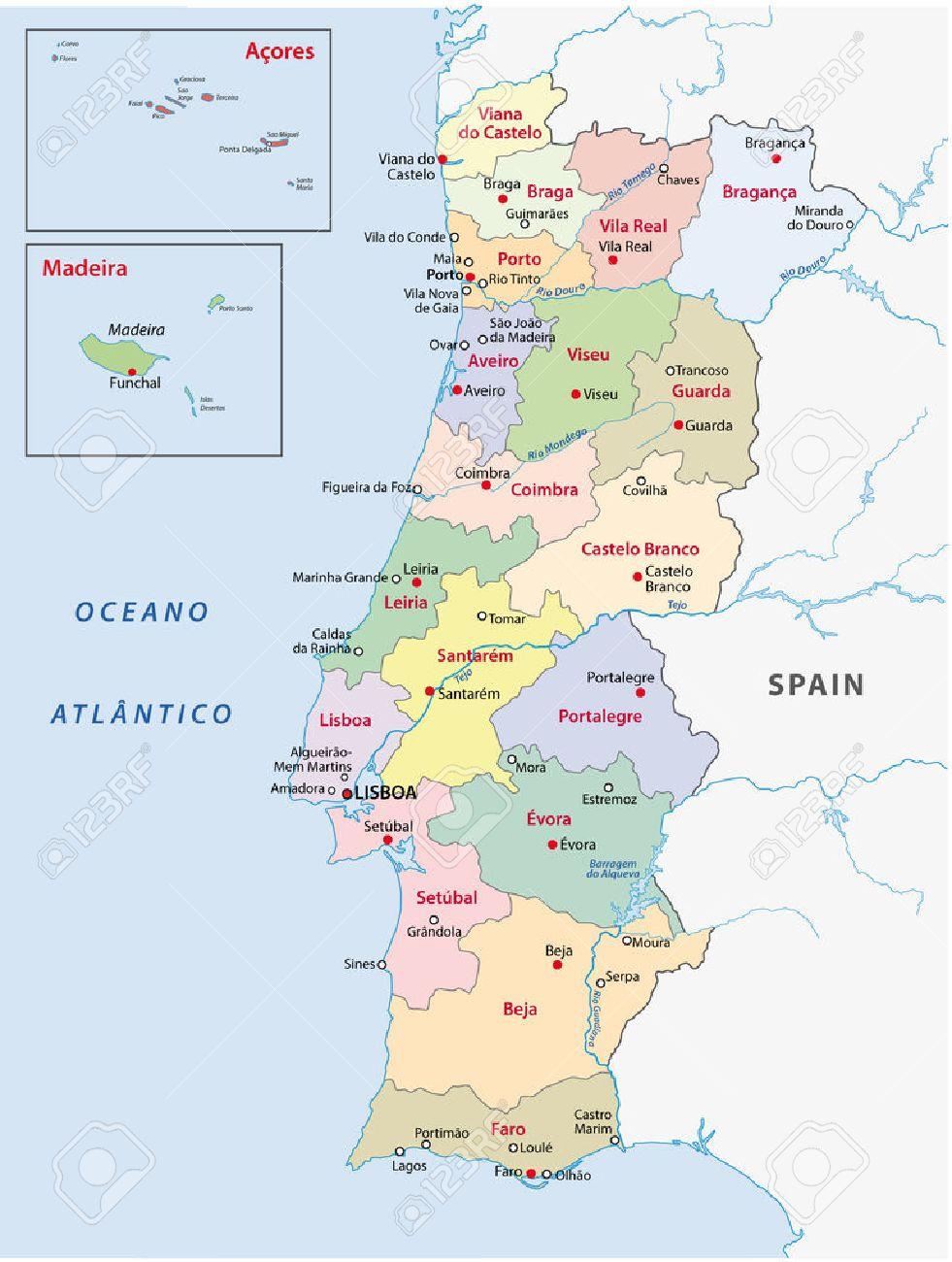 Portugal Mapa Administrativo Royalty Free Cliparts Vetores E - Portugal mapa