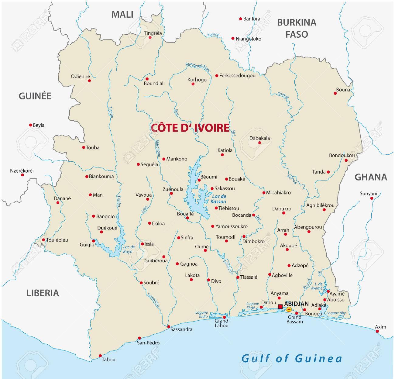 Carte Côte-d'Ivoire Clip Art Libres De Droits , Vecteurs Et ...