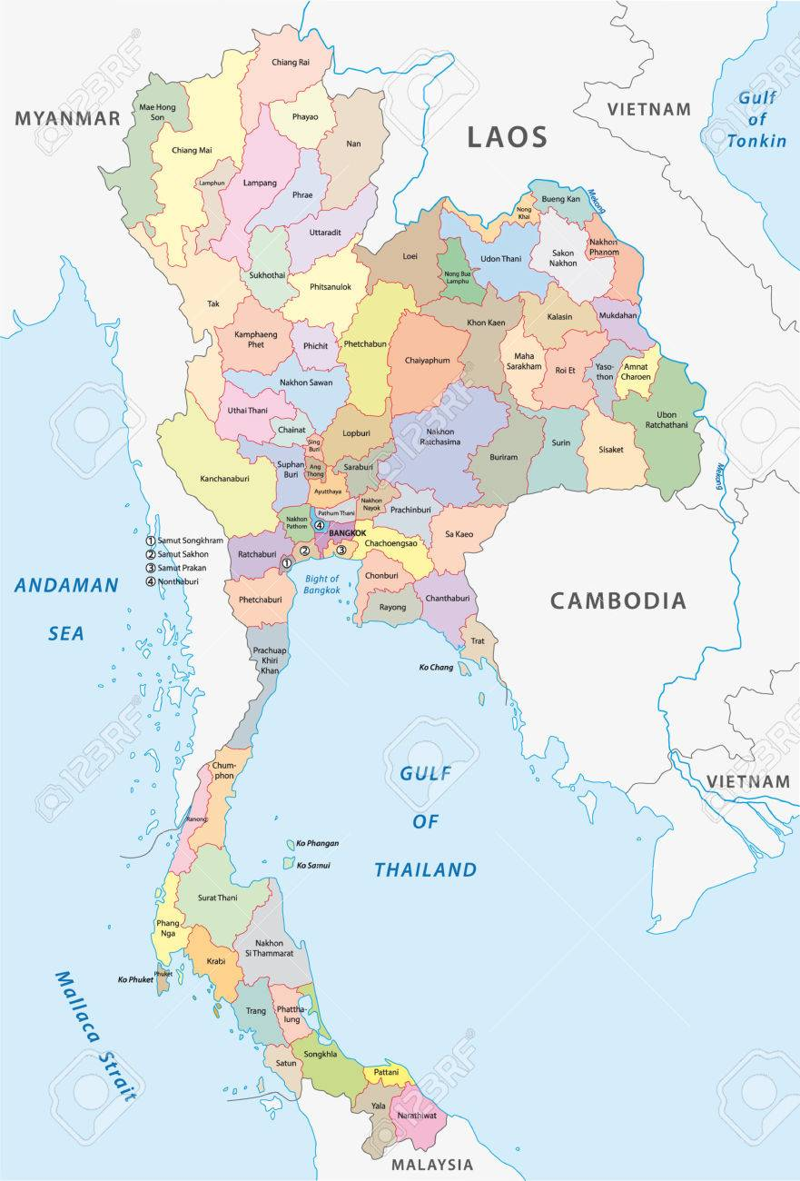 Thailand Administrative Map Royalty Free Cliparts Vectors And - Thailand map