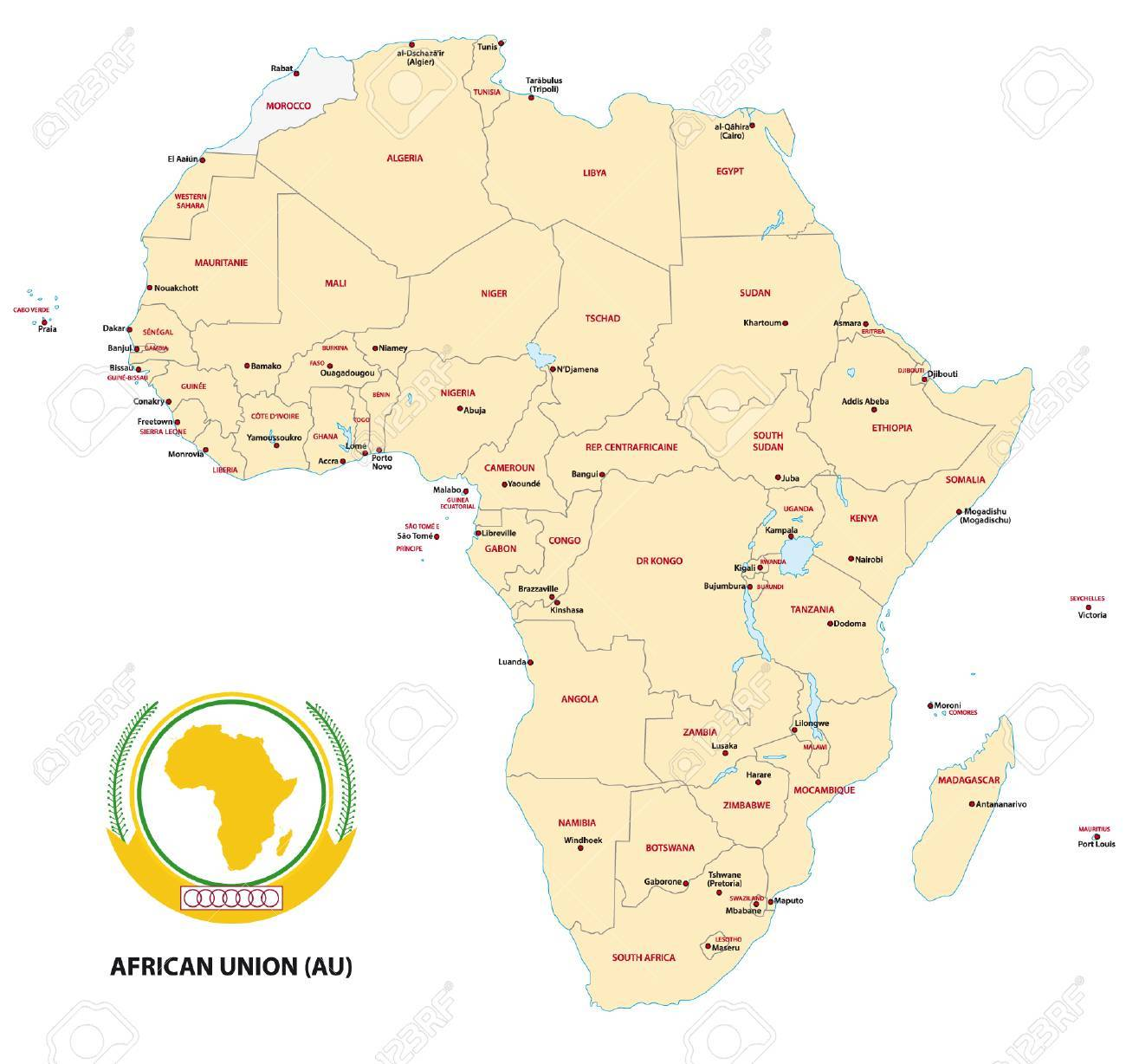 Africa (AU) Map Royalty Free Cliparts, Vectors, And Stock
