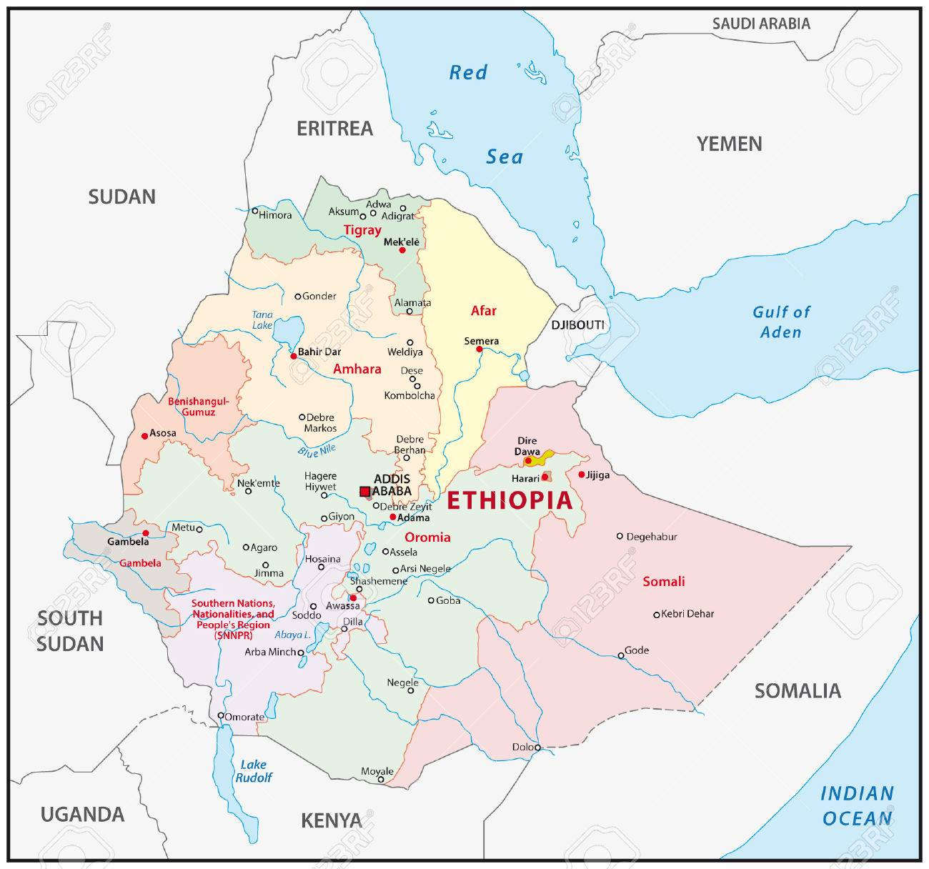 Ethiopia Administrative Map Royalty Free Cliparts Vectors And