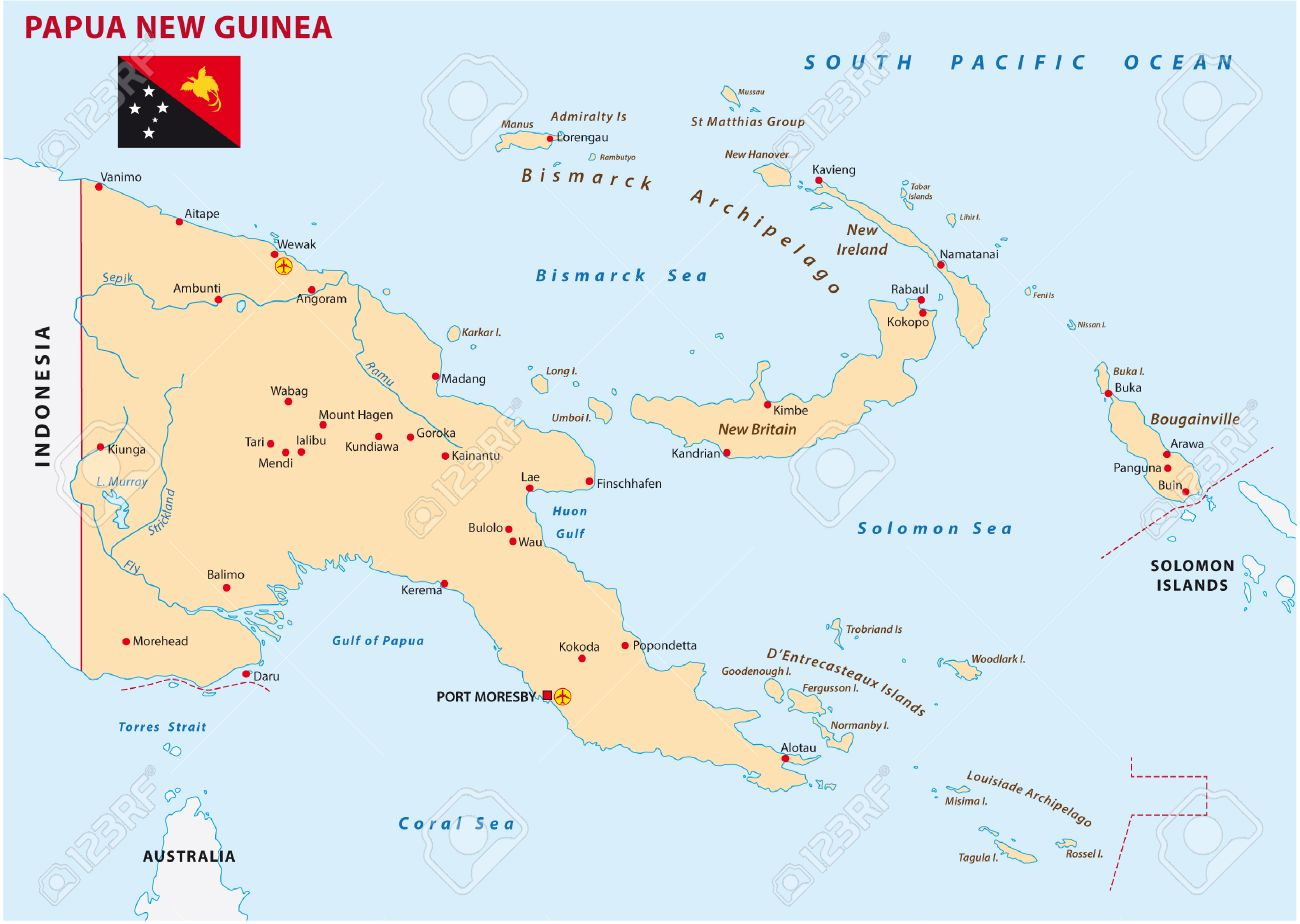 Papua New Guinea Map With Flag Royalty Free Cliparts Vectors And
