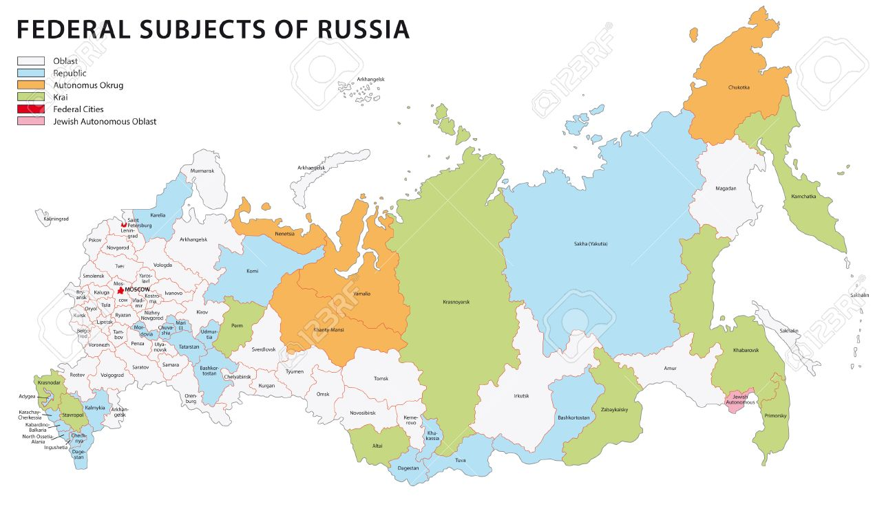 Russia Administrative Map Royalty Free Cliparts Vectors And - Russia administrative map