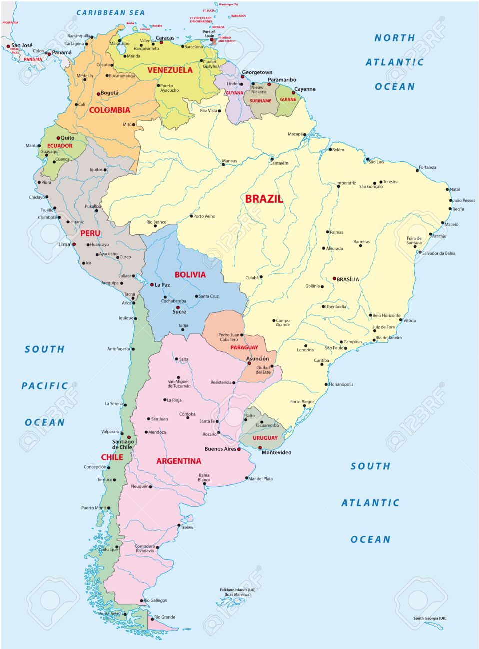 South America Map Stock Vector Illustration And Royalty - Sur america map