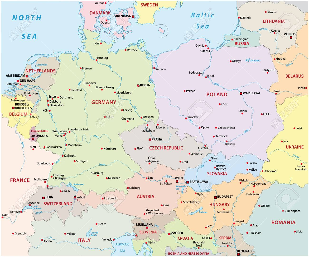 central europe map stock vector 33639990