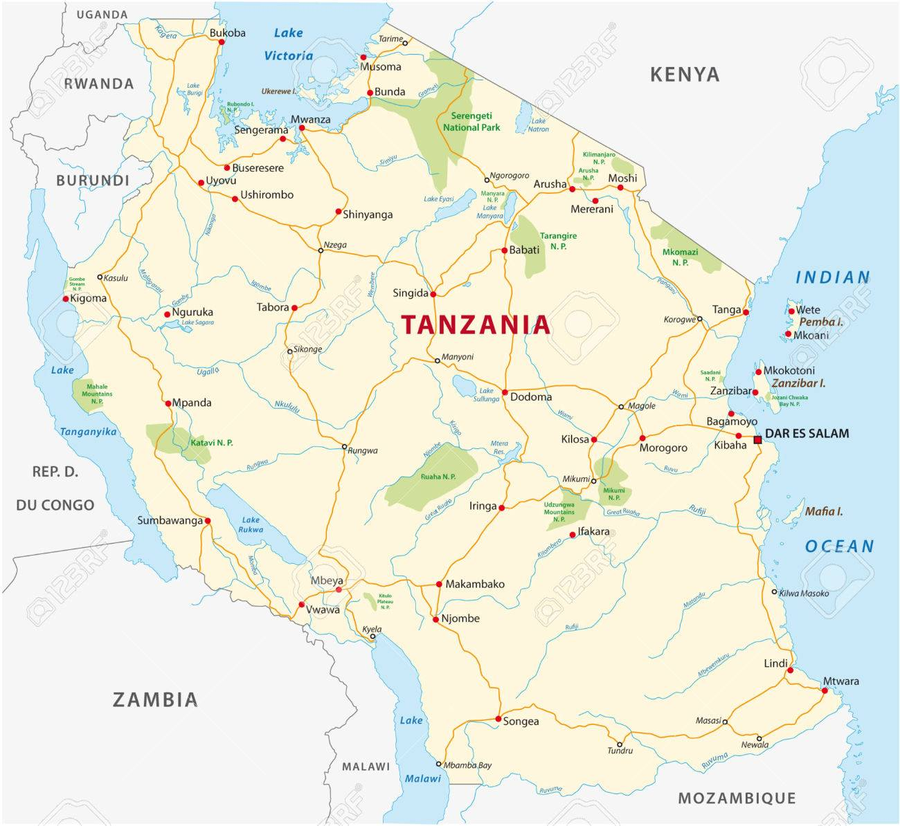 Tanzania Road And National Park Map Royalty Free Cliparts Vectors