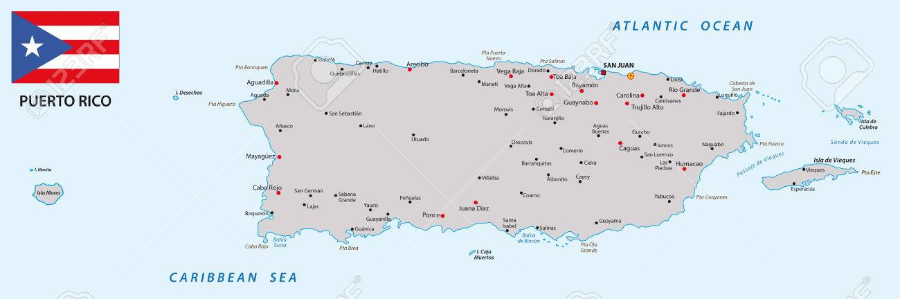 Puerto Rico Map With Flag Royalty Free Cliparts, Vectors, And Stock ...