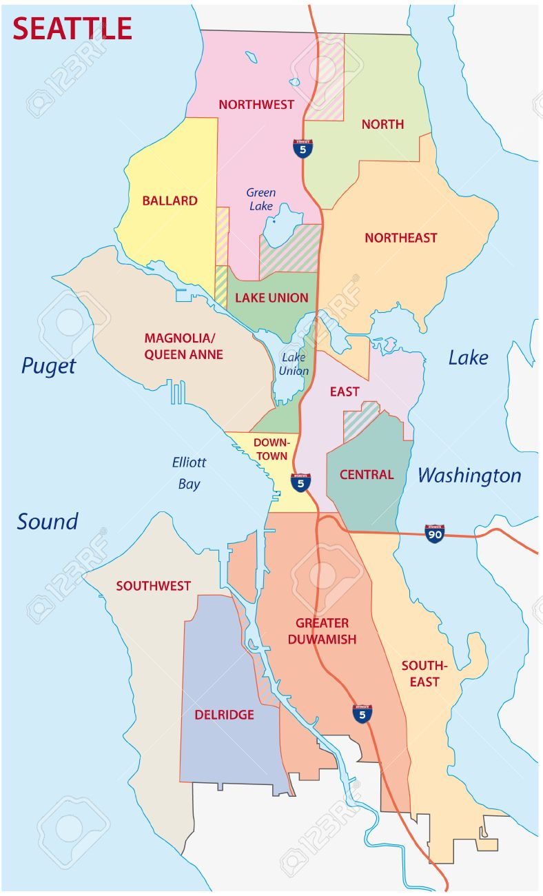 Seattle Administrative Map Royalty Free Cliparts Vectors And