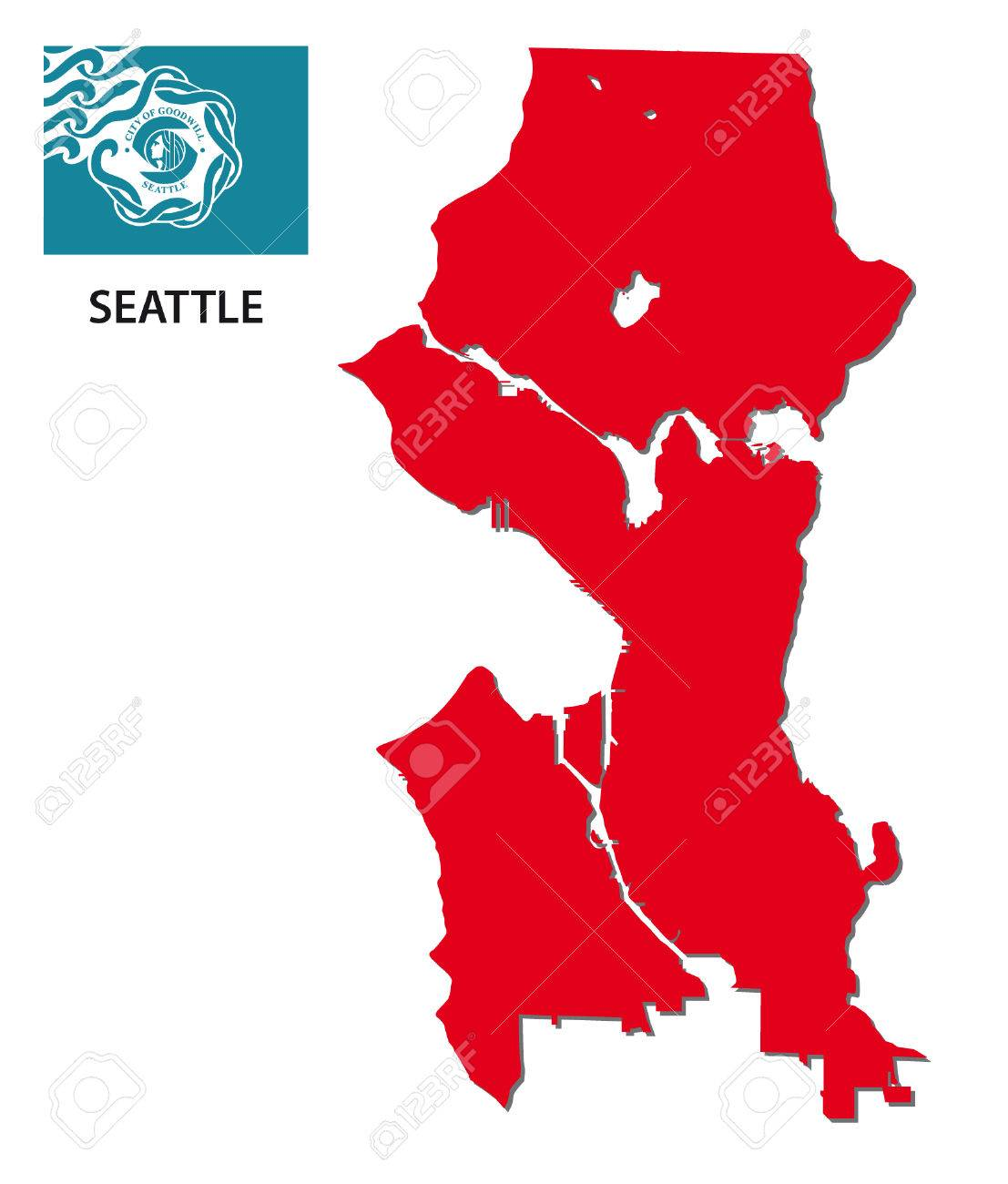 Seattle Map With Flag Royalty Free Cliparts Vectors And Stock