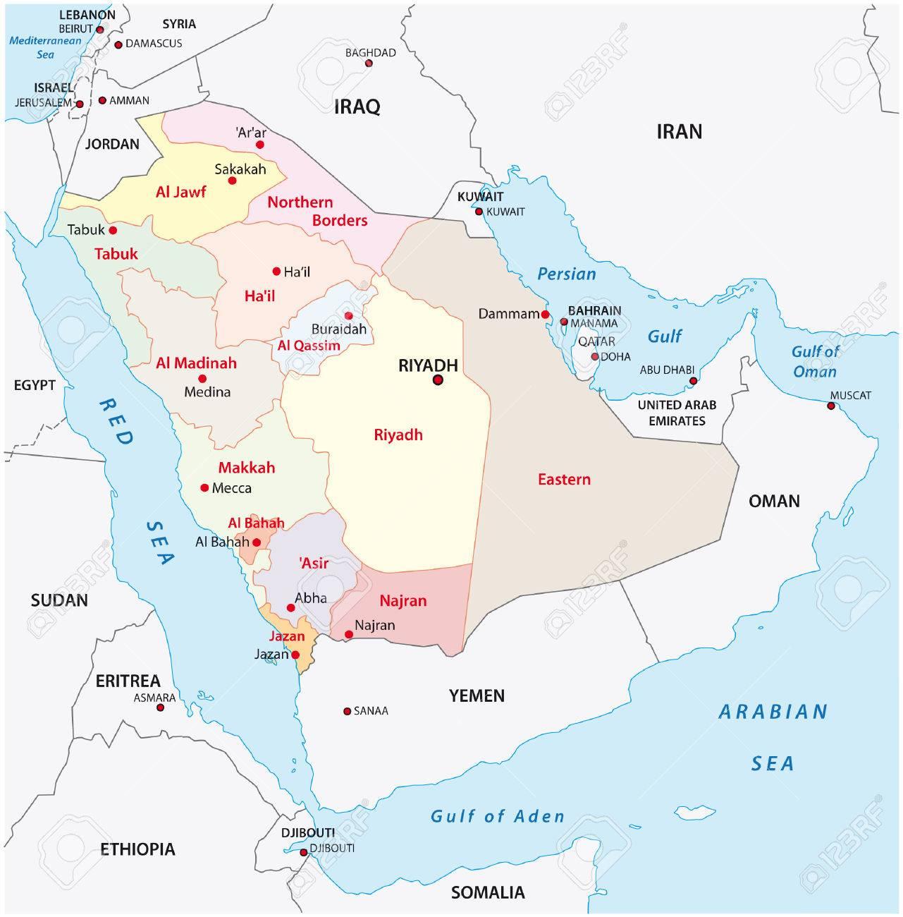 Saudi Arabia Administrative Map Royalty Free Cliparts Vectors And