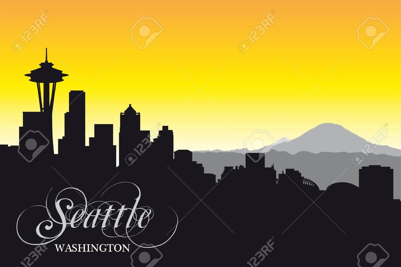 seattle skyline,silhouette - 34259219