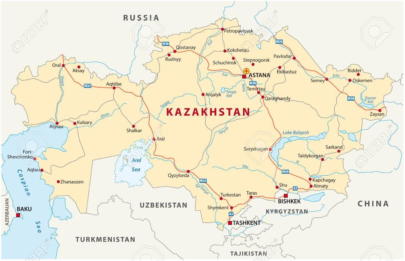 Kazakhstan Road Map Royalty Free Cliparts Vectors And Stock