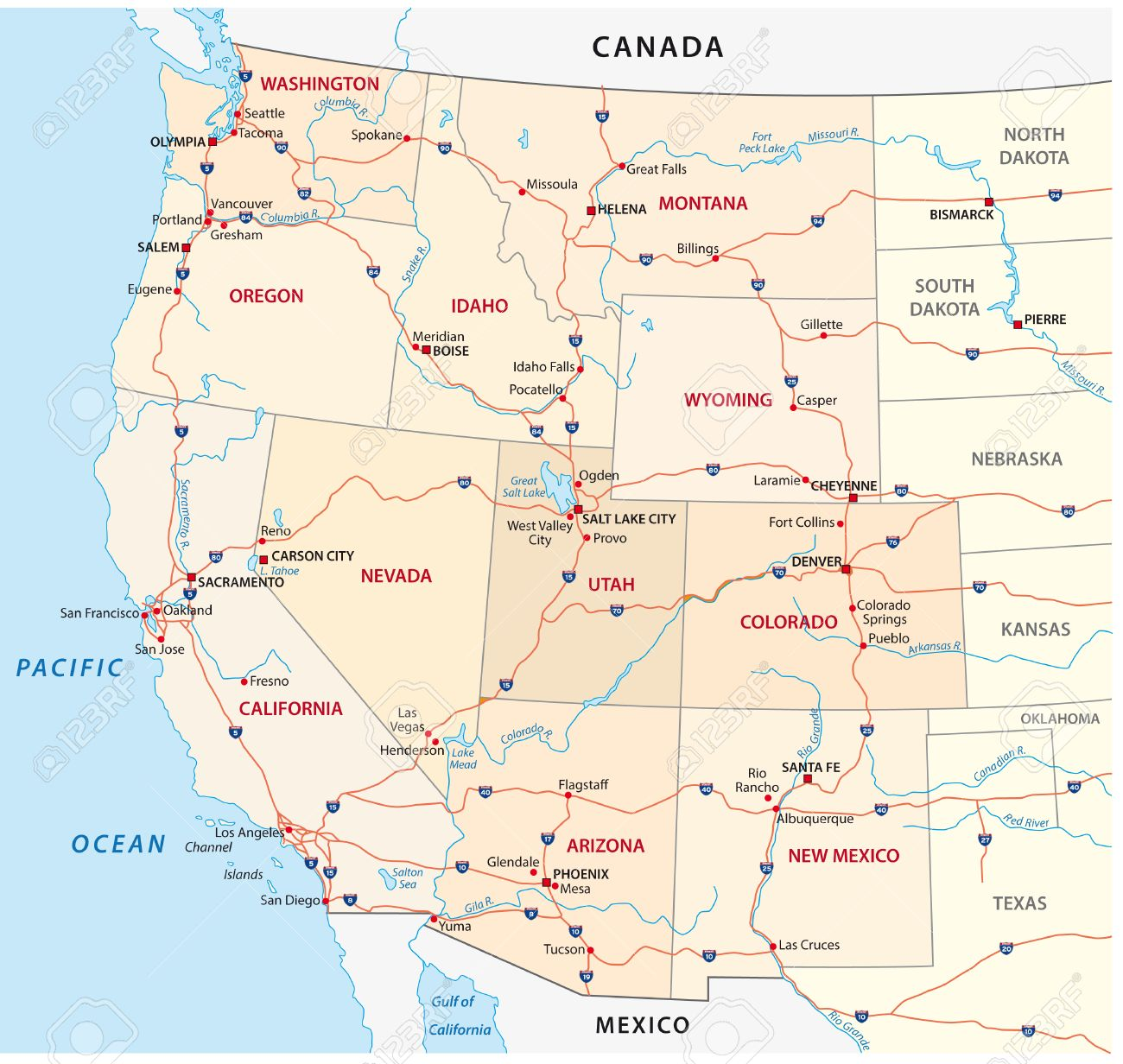 Western United States Map Royalty Free Cliparts Vectors And - Map of nevada and arizona usa