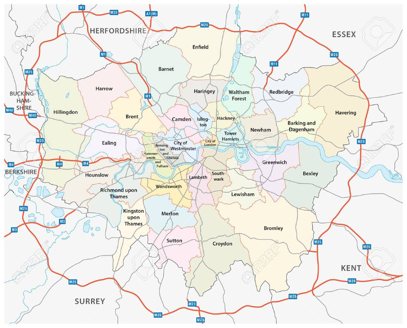 Greater London Road And Administrative Map Royalty Free Cliparts