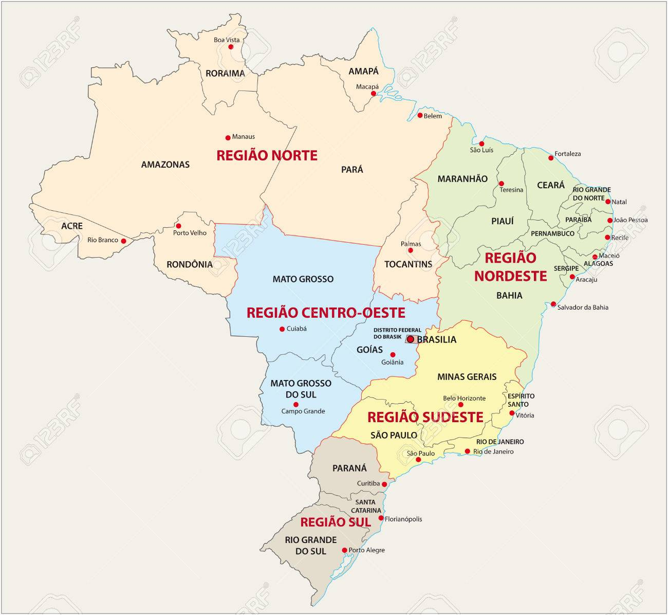 Brazil Administrative And Territorial Division Map Royalty Free