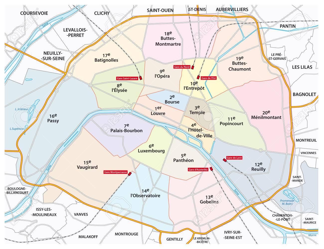 パリの道と行政地図のイラスト素材ベクタ Image 35107523