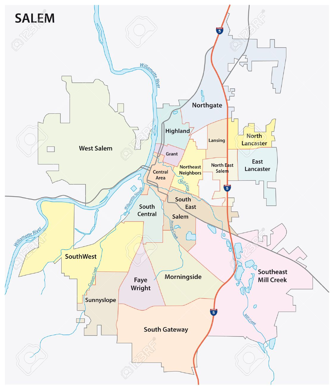 salem (oregon) road and neighborhood map