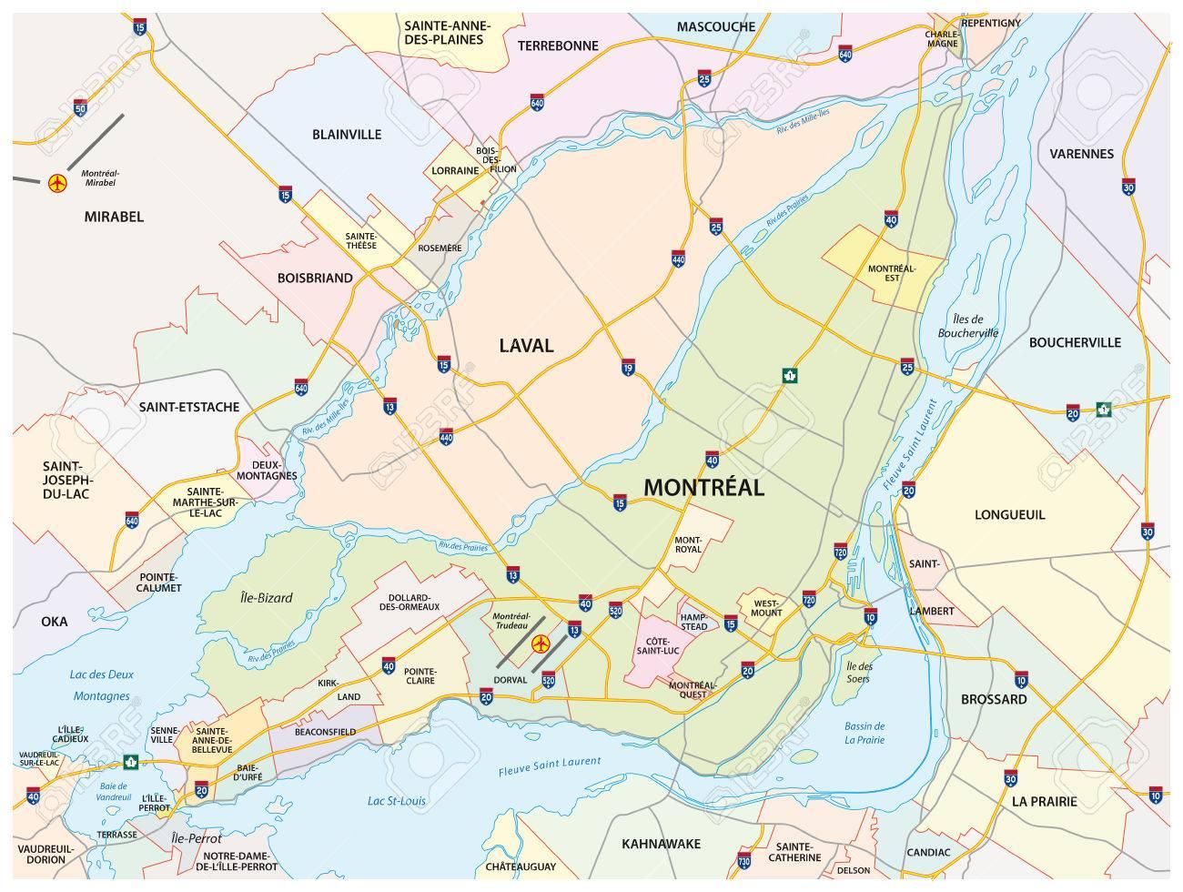 Mehr Montreal Strasse Und Verwaltungs Karte Lizenzfrei Nutzbare